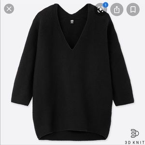 UNIQLO 3D Cotton Cocoon V-neck 3/4 Sleeve Sweater